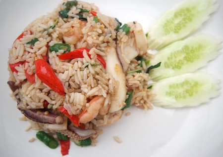 Fried Rice with Seafood and Hot Basil on dish
