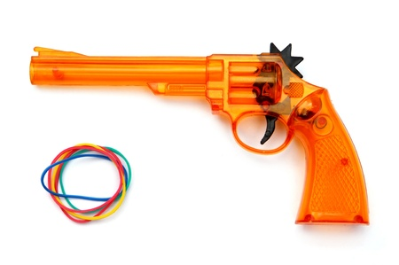 elastic band: Toy plastic gun and elastic band for child , on a white background  Stock Photo