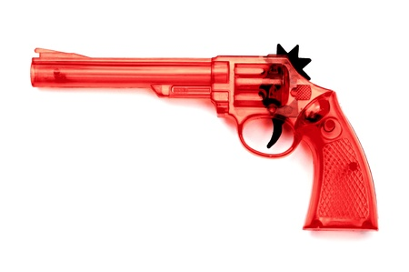 Toy plastic gun for child , on a white background