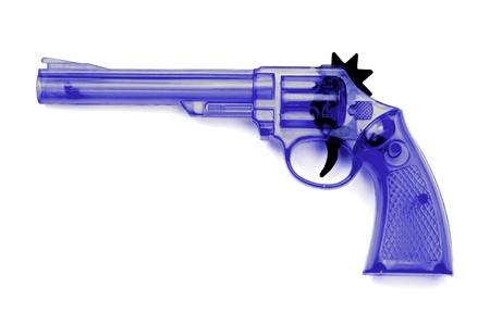 flint gun: Toy plastic gun for child , on a white background