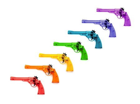 Colorful of plastic guns  for child , on a white background  photo