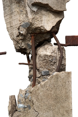 Broken concrete pillars and steel structures seen   Stock Photo - 14947773