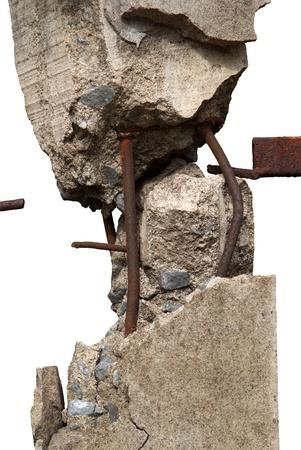 Broken concrete pillars and steel structures seen Stock Photo - 14947773