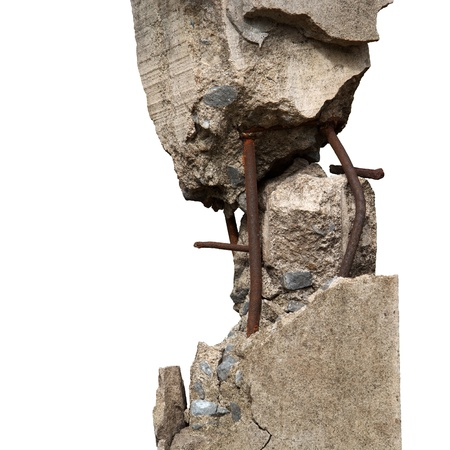 Broken concrete pillars and steel structures seen   Stock Photo