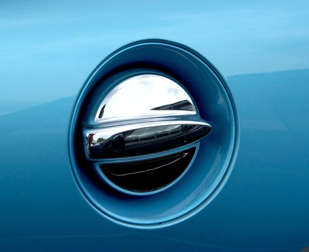 Fuel cap on new blue car  photo