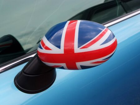 British flag on the car side mirror