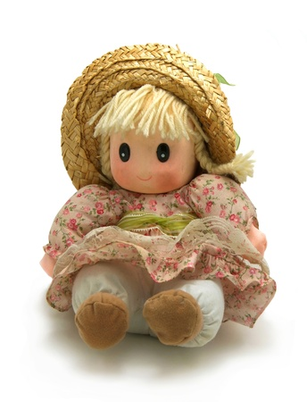 Vintage doll isolated on white background