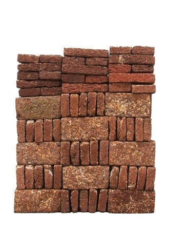 Red-brown Laterite bricks isolated on white background  Stock Photo - 17097630