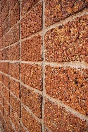 pattern red - brown color of modern style design decorative laterite stone wall surface with cement Stock Photo - 17097661