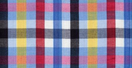 Blue, red, black and yellow square fabric pattern background  Banque d'images
