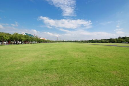 Panorama scenery of park of Sanam Luang, Bangkok, Thailand