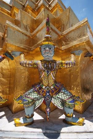 Giant statue of a beautiful Golden Pagoda in Wat Phra Kaew, Thailand  Stock Photo