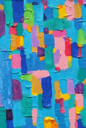 Colorful Image of an original Abstract Painting on Canvas  Banco de Imagens
