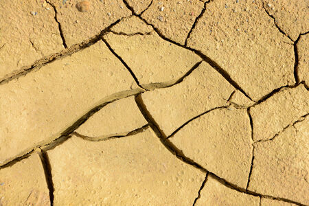 Close-up of dry soil in arid climate. Cracked ground in a desert. photo