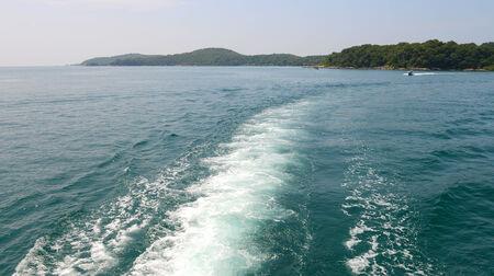 astern: Wake of a cruise ship on the sea