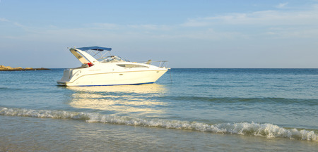 beach cruiser: Beautiful beach with motor boat at Samed island, Thailand Stock Photo