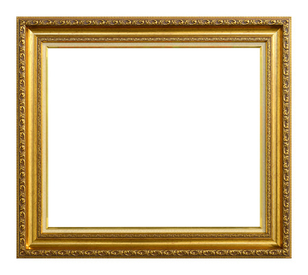 Antique gold frame  isolated on the white background photo