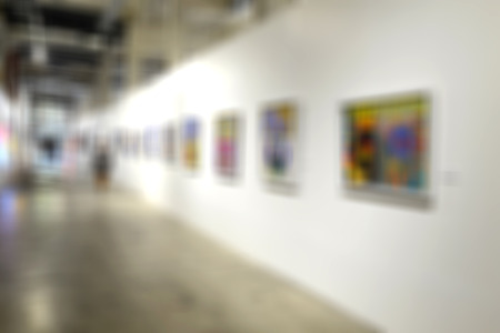 intentionally: Art gallery generic background. Intentionally blurred editing post production. Stock Photo