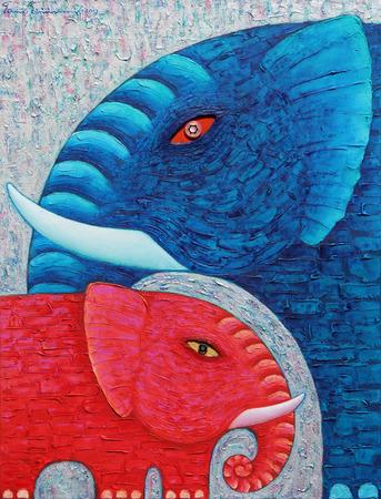 Red and Blue Elephant 1, Het originele acryl schilderen op canvas. Stockfoto