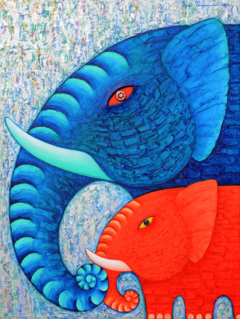Red and Blue Elephant 2, Original acrylic painting on canvas.