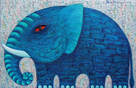 Blue Elephant in Silver. Original acrylic painting on canvas.