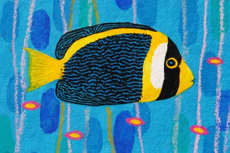 angelfish: Scribbled Angelfish original acrylic Painting on Sa-paper