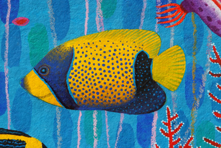 pomacanthus: Regal Angelfish original acrylic Painting on Sa-paper Stock Photo