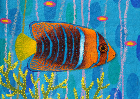 passe: Passer Angelfish original acrylic Painting on Sa-paper