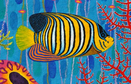 angelfish: Regal Angelfish original acrylic Painting on Sa-paper Stock Photo