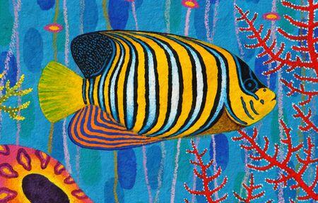 pygoplites diacanthus: Regal Angelfish original acrylic Painting on Sa-paper Stock Photo