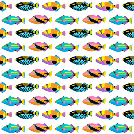 triggerfish: Acrylic painting  Clown Triggerfish  pattern isolated on white background