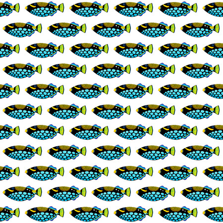 triggerfish: Clown triggerfish original acrylic Painting isolated on white background Stock Photo