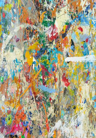 Abstracte kleurrijke textuur achtergrond. Splash acrylverf op houten tafel.