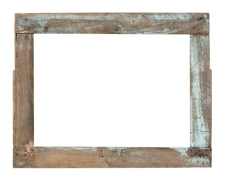 Old wooden window frame isolated on white background Stock Photo