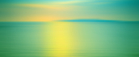 tranquil: Motion blurred background of refraction in water. Panoramic dramatic view of Infinity sunset on the sea at twilight times.