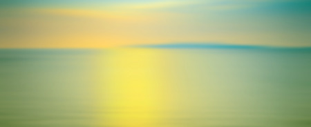 water panoramic: Motion blurred background of refraction in water. Panoramic dramatic view of Infinity sunset on the sea at twilight times.