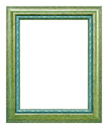 Antique green frame isolated on the white background, vintage style