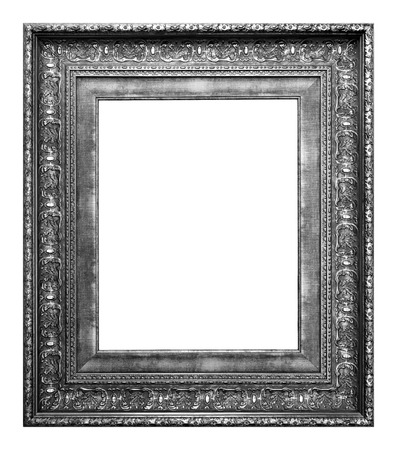 Antique silver and black frame isolated on the white background vintage style Фото со стока