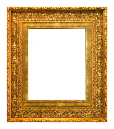 Antique gold frame isolated on the white background vintage style Фото со стока