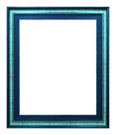 Antique blue frame isolated on the white background vintage style