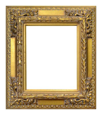 Antique gold frame isolated on the white background vintage style Banque d'images