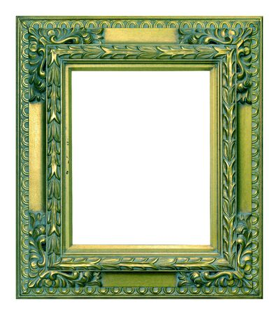 Antique green and gold frame isolated on the white background vintage style