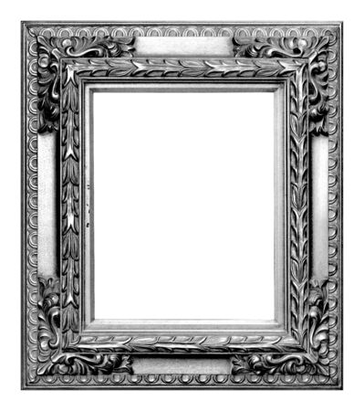 Antique silver frame isolated on the white background vintage style