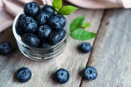 Freshly blueberries in glass Stock Photo