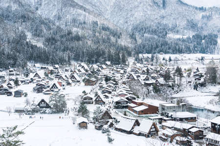 Top view of Shirakawa-go villages in snowfall day, Gifu prefecture Japan, Village hill view point in snowing fall winter