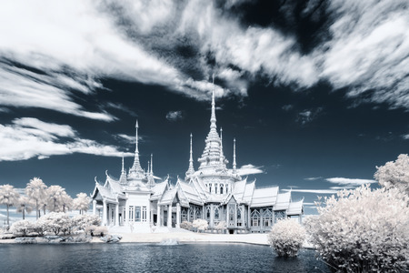 ancient near east: Near infrared photography Wat Sorapong public temple in Thailand  treasure of Buddhism Landmark
