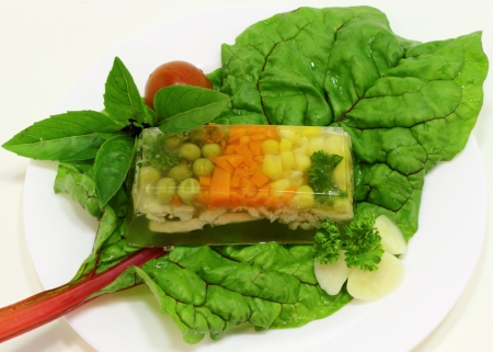 this is a mini-appetizer with vegetables and herbs photo
