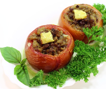 tomatoes stuffed with minced pork and sliced zucchini Stock Photo - 14664212