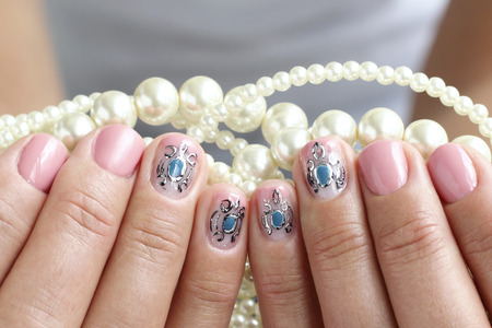 nailart: Female hands, nails with beautiful art manicure