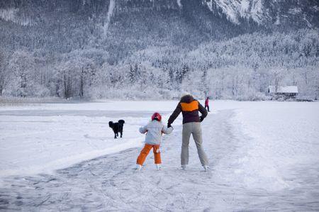 Ice Skater on a frozen Lake in Austria